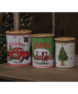 3/Set, Metal Merry Christmas Canisters wooden Lids Holiday Storage - $49.99