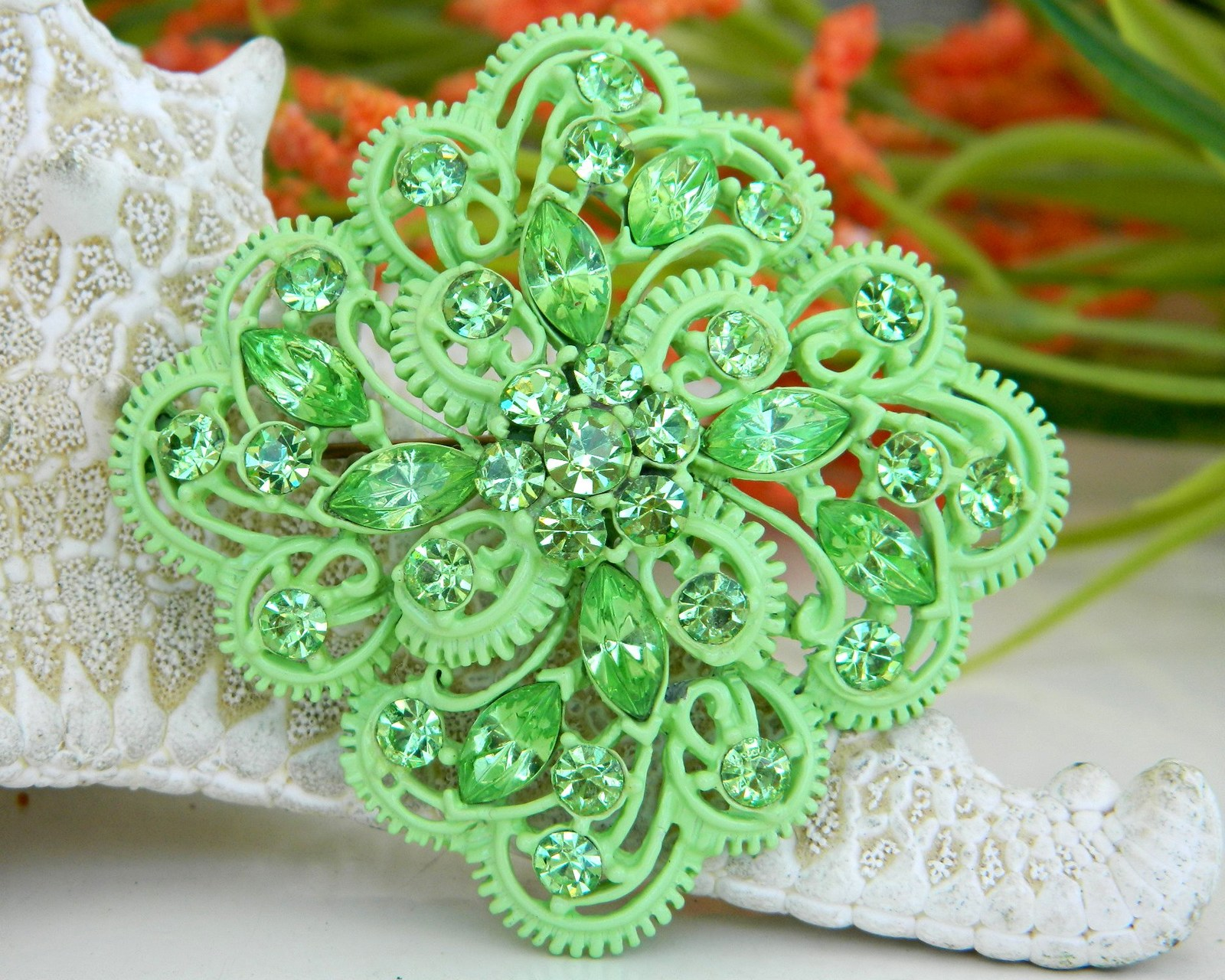 Vintage Enamel Rhinestone Brooch Pin Earrings Demi Set Green