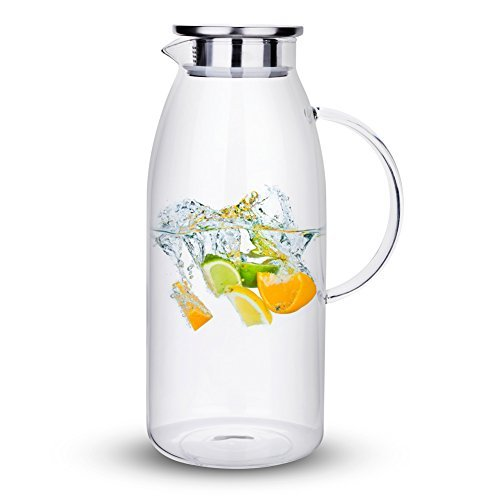 Purefold 100 Ounces Large Glass Pitcher with Lid, Hot/Cold Water Pitcher with Ha