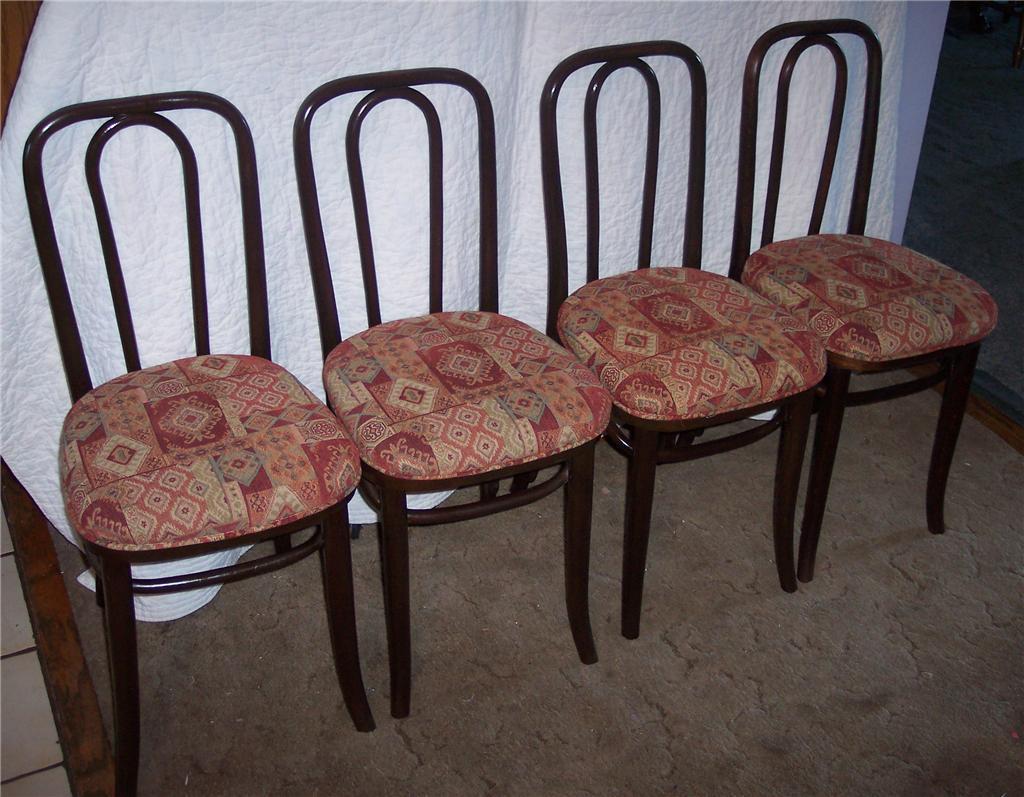 Set of 4 Oak Bentwood Ice Cream Chairs/Sidechairs Bonanza