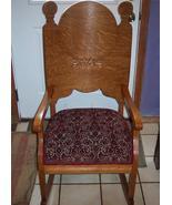 Quartersawn Oak Carved Rocker Rocking Chair burgundy cut velvet seat - $483.18