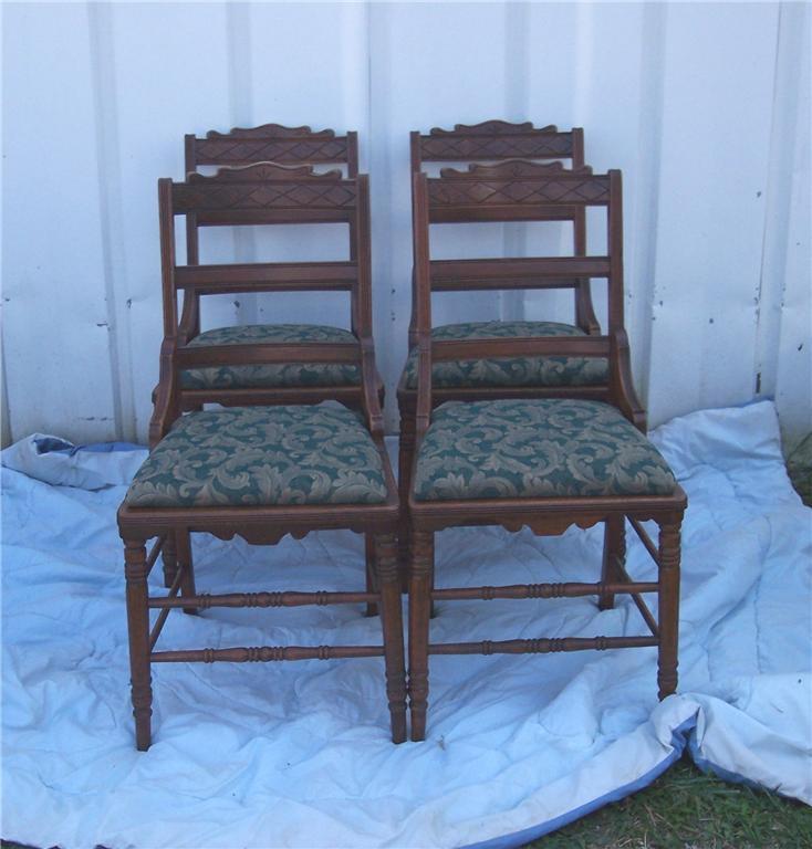 Set of 4 Carved Solid Walnut Eastlake Dinette Chairs - $578.90