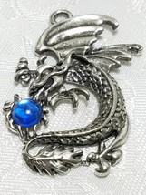 LARGE DRAGON WITH CRYSTAL FINE PEWTER PENDANT CHARM - 30mm L x 47mm W x 5mm D