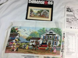 1990 Dimensions Needlepoint Kit 2375 Rosewind Country Inn Partially Completed - $28.03