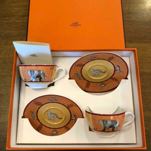 HERMES Africa Orange Cup and Saucer Set of 2 coffee tableware Porcelain ... - £315.65 GBP