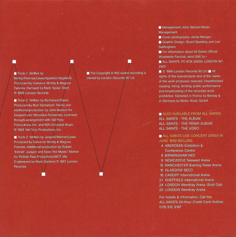ALL SAINTS - WAR OF NERVES 1998 UK 3 TRACK CD SINGLE PART 2 W/POSTER - LONCD 421
