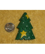 Pin Country Green Christmas Tree with Yellow Stars in Resin - $8.00