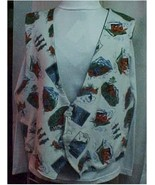 Vest, Adult Large, Wilderness Print Flannel Hand Made - $32.00