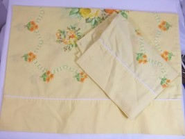 Yellow Floral Standard Pillowcases 2 Vintage Montgomery Ward - $19.79