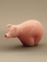 Orient & Flume Art Glass Figurine of a Pink Pig - $139.00