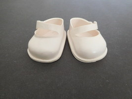 Vintage Vinyl White Shoes NY Doll Shoe Co Side Button For Medium-Large S... - $16.00