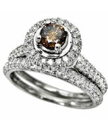14kt White Gold Cognac-brown Diamond Bridal Wedding Set - $519.01