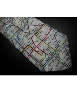Gold City Neck Tie London Tube System in Bright Colors On Background of ... - $12.99