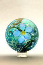 Orient & Flume Iridescent Art Glass Mystic Floral paperweigh - $219.00