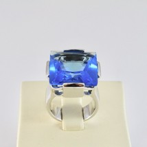 RING BAND 925 SILVER RHODIUM WITH CRYSTAL BLUE SQUARE FACETED image 2