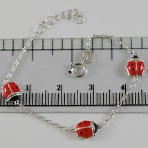 18K WHITE GOLD GIRL BRACELET 5.50 GLAZED LADYBIRD LADYBUG, ENAMEL, MADE IN ITALY image 1
