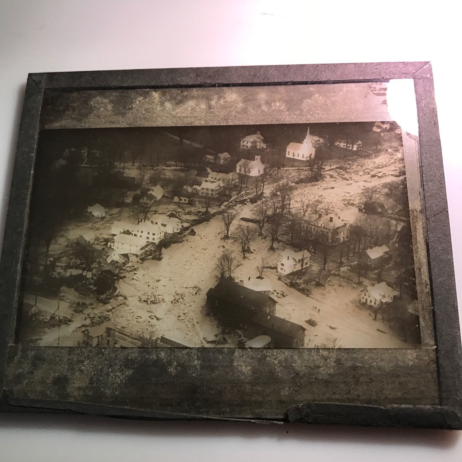 Vtg Magic Lantern Glass Photo Slide Flood River Through Town Destruction