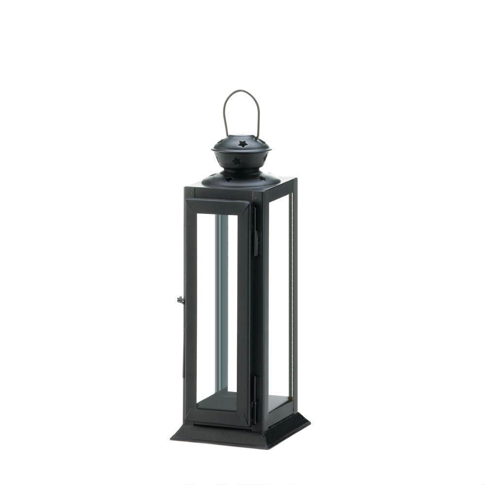 Iron Lantern Candle Holder, Decorative Outdoor Metal Candle Lanterns Black