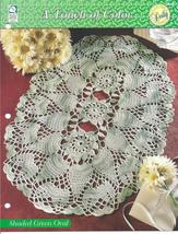 Shaded Green Oval Doily~A Touch of Color Crochet Pattern - $2.99