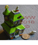 Haunted Ghost House Porcelain Trinket Box New  - $5.99