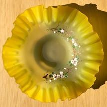 Vintage Fenton Yellow Satin Galss Bowl Dish Ruffled Edge Enamel Floral D... - $39.60