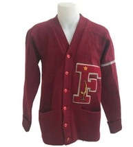 Vintage 1938 Fremont High School Albion Letterman's Sweater Maroon Wool ... - $154.28
