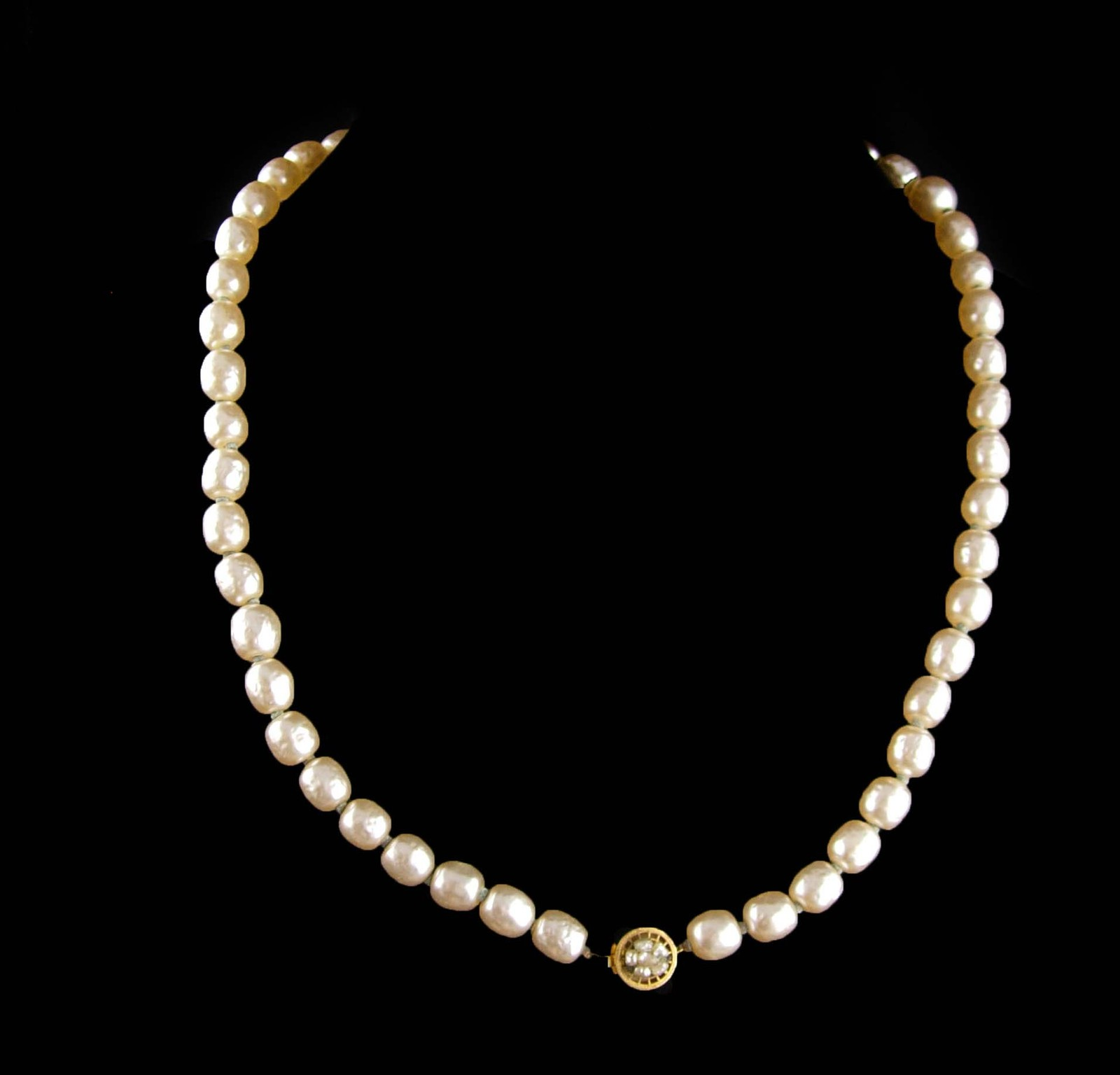 Signed Miriam Haskell Necklace 1 stand vintage baroque pearls costume designer j