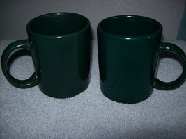 Set of 2 dark green coffee mugs - $12.00
