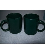 Set of 2 dark green coffee mugs - $12.00