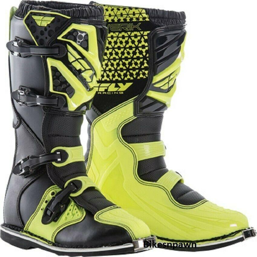 New Adult Size 9 Fly Racing Maverik Hi-Vis Motocross MX ATV Boots