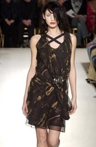 Maria Chen Pascual Black and Gold Instrument Ruffled Godet Skirt S NWT - $450.00