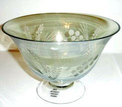 """Lenox Crystal Etchings Green Footed 9""""W Serving Bowl Centerpiece New - $42.90"""