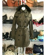 BURBERRY BRIT Olive Green Button Up Belted & Hooded Trench Coat Sz 12 $1095 - $593.90