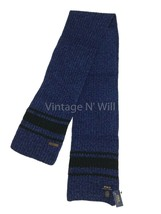 Polo Ralph Lauren Unisex 68*8 Blue/ Black Stripe Merino Wool Scarf Leath... - $32.99