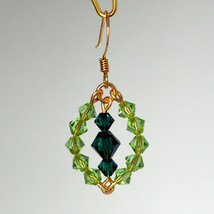 Two Toned Crystal Beaded Marquis Earrings image 1