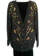 80s Black Knitted Gold Beaded Jewel Rhinestones Xmas Sweater Cardigan Large - $41.00