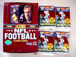 (14) Unopened 1991 Score Football Series 1 packs w/box-16/pack-224 total - $11.50