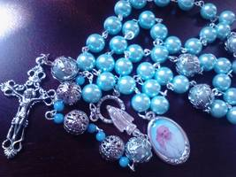 Aqua Pearl Rosary - $27.00