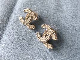 SALE* AUTHENTIC CHANEL XL LARGE CRYSTAL CC LOGO STUD GOLD EARRINGS  image 4
