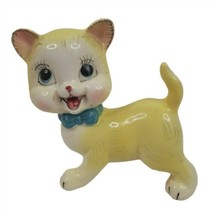 Vintage Anthropomorphic Yellow Cat Blue Bow Japan Mid Century - $39.59