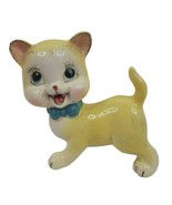Vintage Anthropomorphic Yellow Cat Blue Bow Japan Mid Century - $39.59
