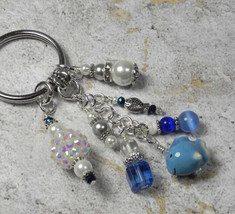 Fish Beach Theme Crystal Glass Beaded Handmade Keychain Split Key Ring Blue - $18.42