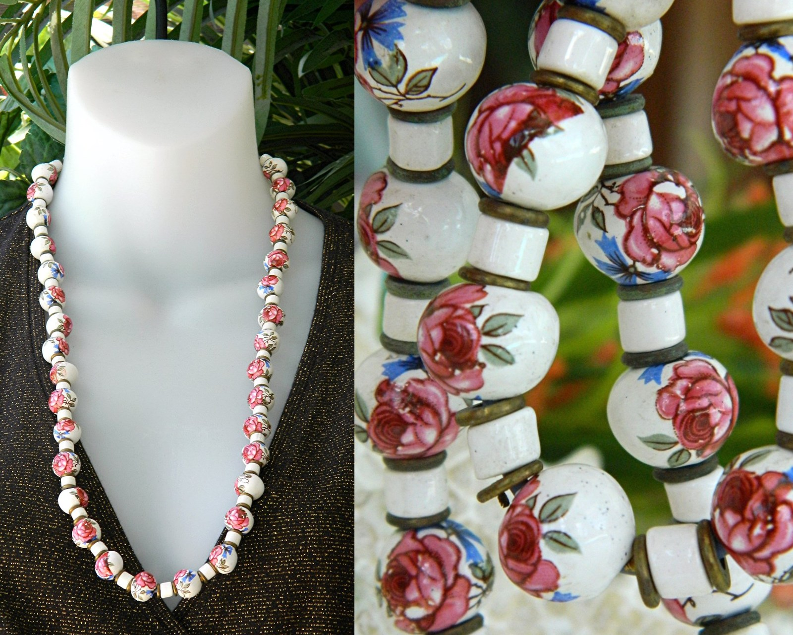 Vintage Hand Painted Porcelain Ceramic Bead Necklace Roses