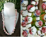 Vintage hand painted porcelain ceramic bead necklace roses thumb155 crop