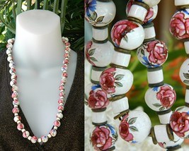 Vintage Hand Painted Porcelain Ceramic Beads Strand Necklace Roses - $49.95