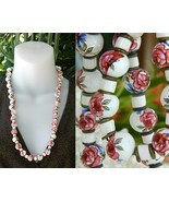 Vintage Hand Painted Porcelain Ceramic Bead Necklace Roses - £35.58 GBP