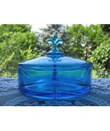 Fostoria Blue  #2331 3 Section Candy Box - $35.00