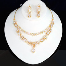 Wedding Bridal Antique Necklace Set With Rectangle Faceted White Ad Stone - $59.39