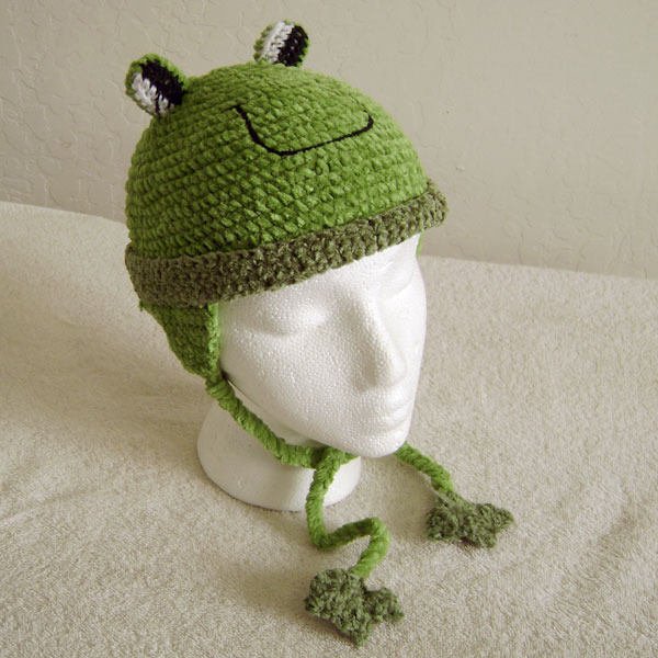 Frog Hat with Ties for Children - Animal Hats - Large