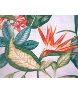 Stunning Barkcloth Tropical Hibiscus Bird of Paradise Floral 54 wide x 3... - $12.00